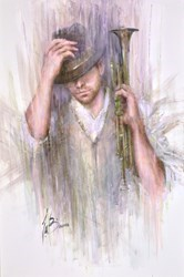 The Musician by Remi LaBarre -  sized 24x36 inches. Available from Whitewall Galleries